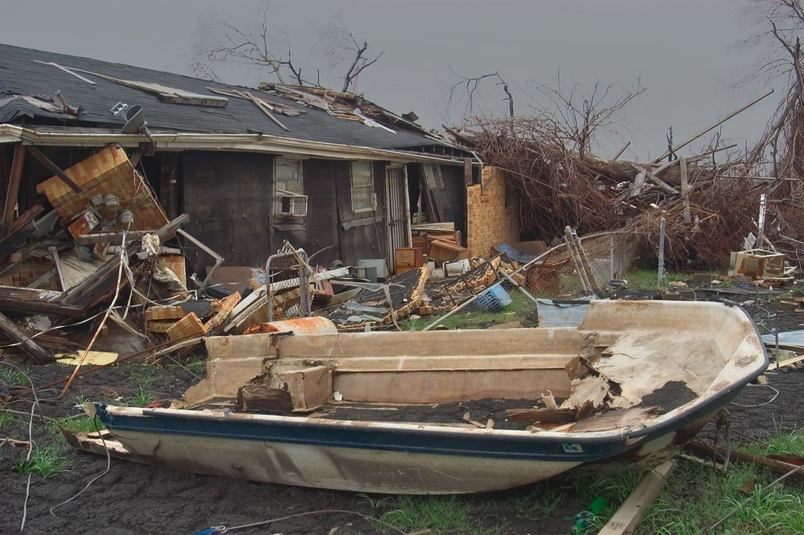 A broken boat deposited near Egania Street in Lower Ninth Ward. New Orleans, Louisiana