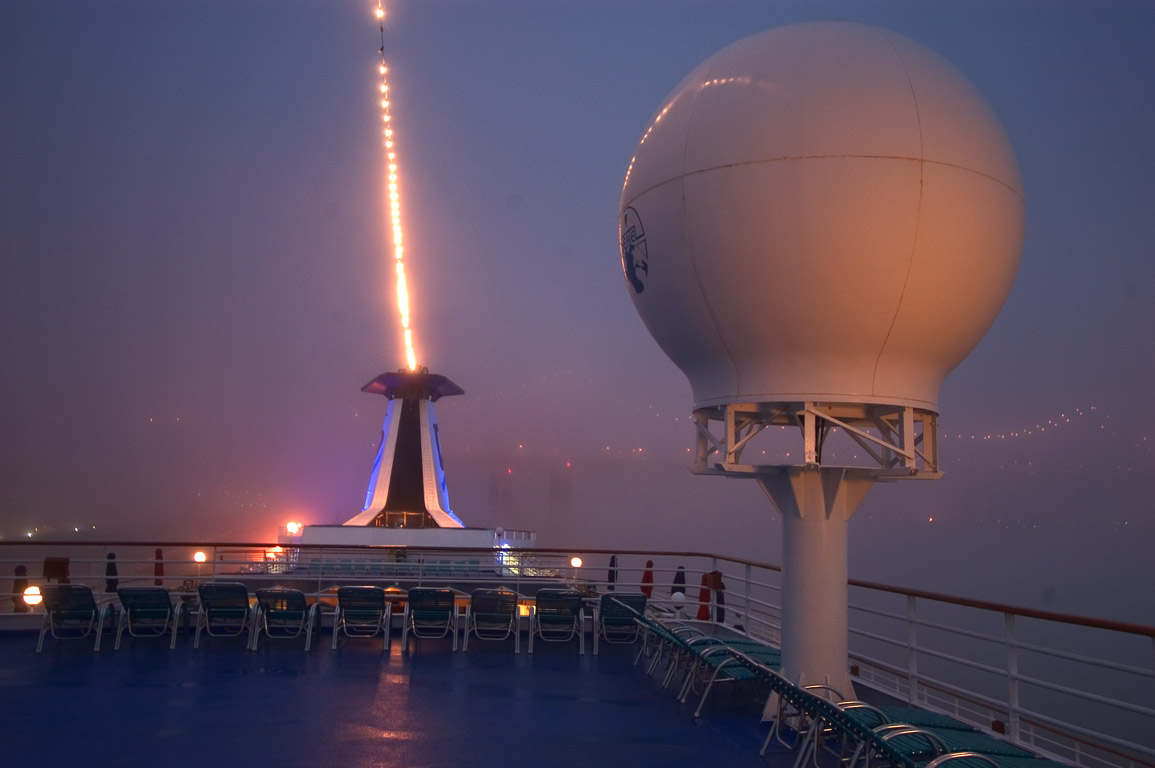 A radar on the upper deck in fog, view from a...St. Wharf. New Orleans, Louisiana