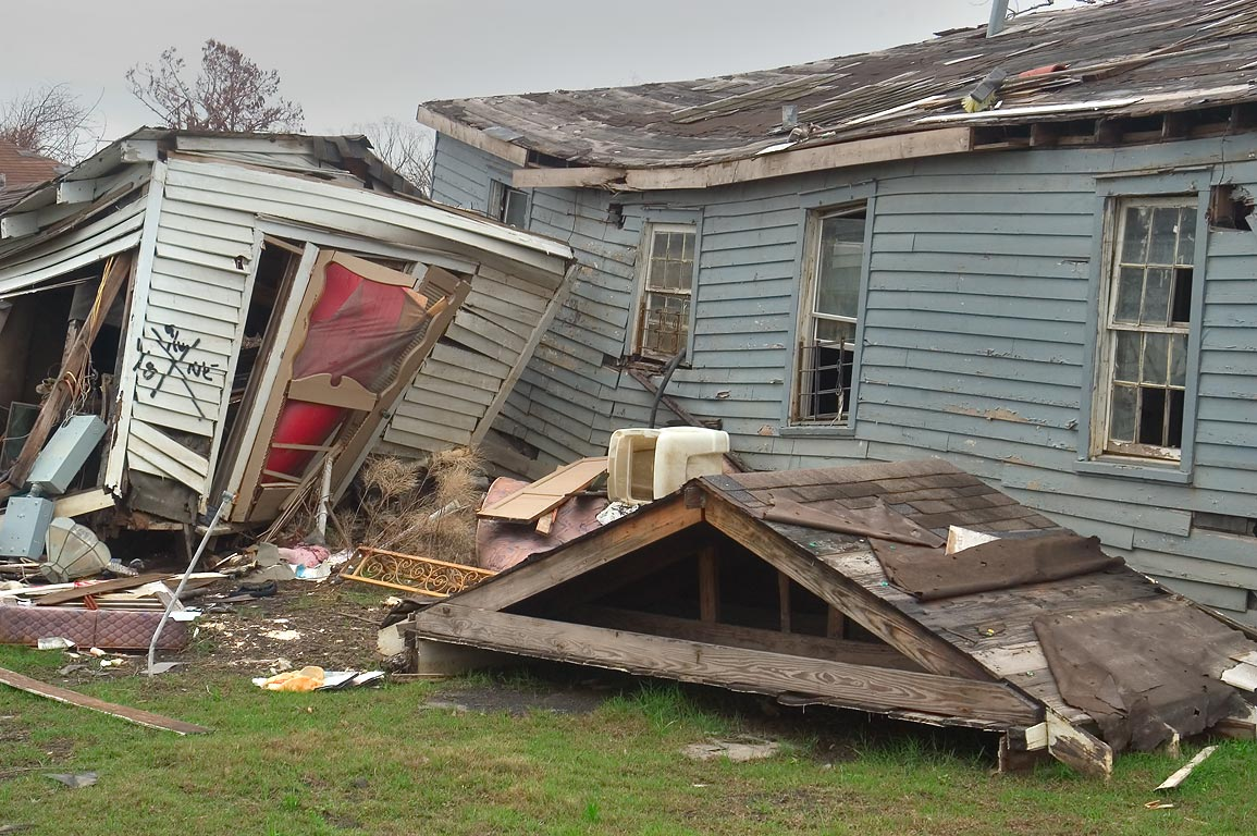 A broken roof in the area of Monticello St. in Lower Ninth Ward. New Orleans, Louisiana