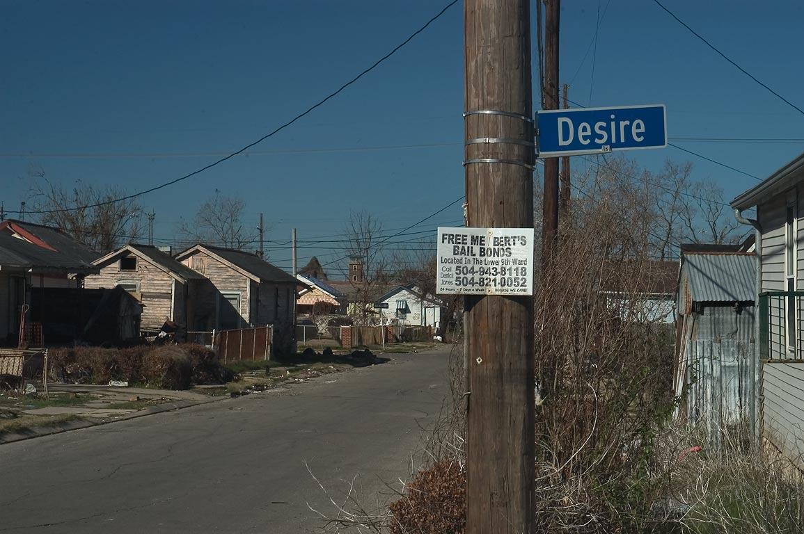 Desire St. in Bywater. New Orleans, Louisiana