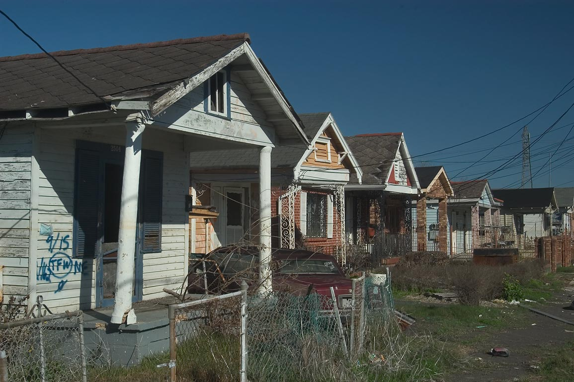 Row of shotgun houses at Desire St. in Bywater. New Orleans, Louisiana