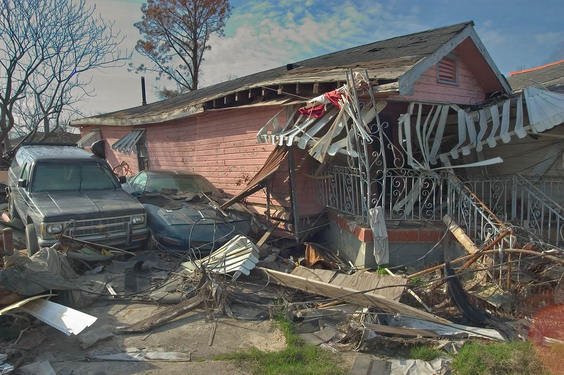 A damaged house near Tennessee St. in Lower Ninth Ward. New Orleans, Louisiana
