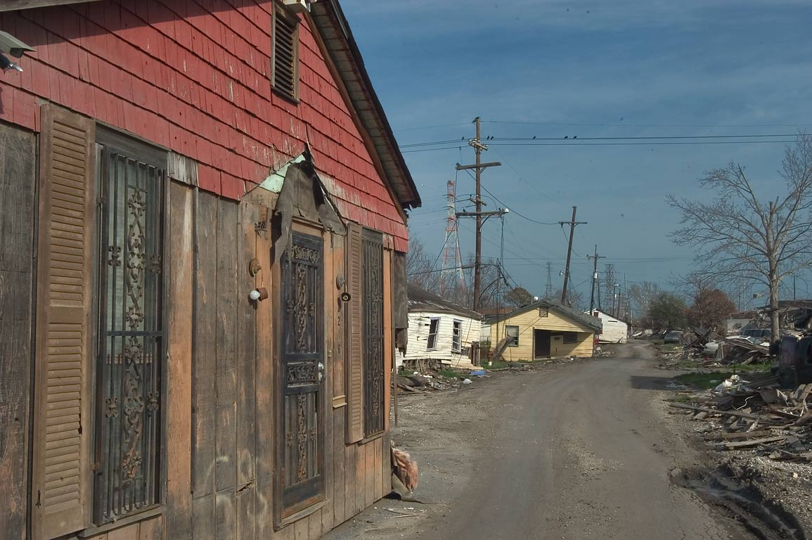 Houses moved to Reynes Street in Lower Ninth Ward. New Orleans, Louisiana