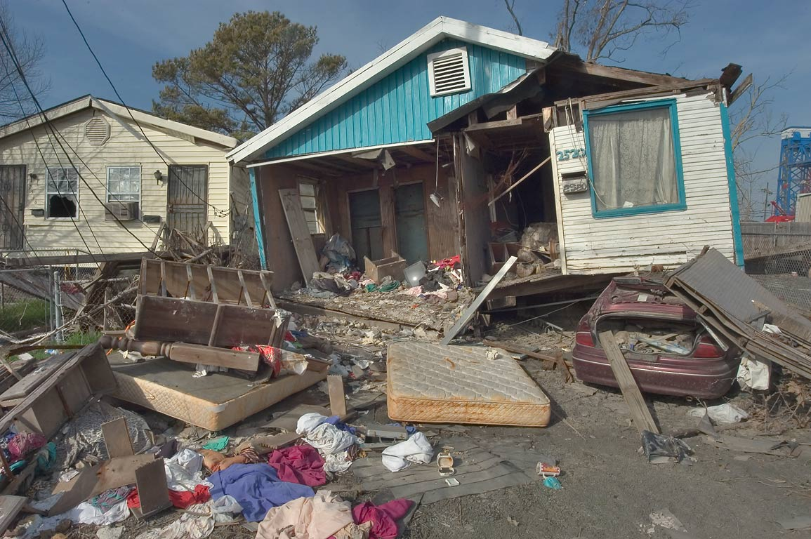 Contents of a broken house at 2520 Law Street in Lower Ninth Ward. New Orleans, Louisiana