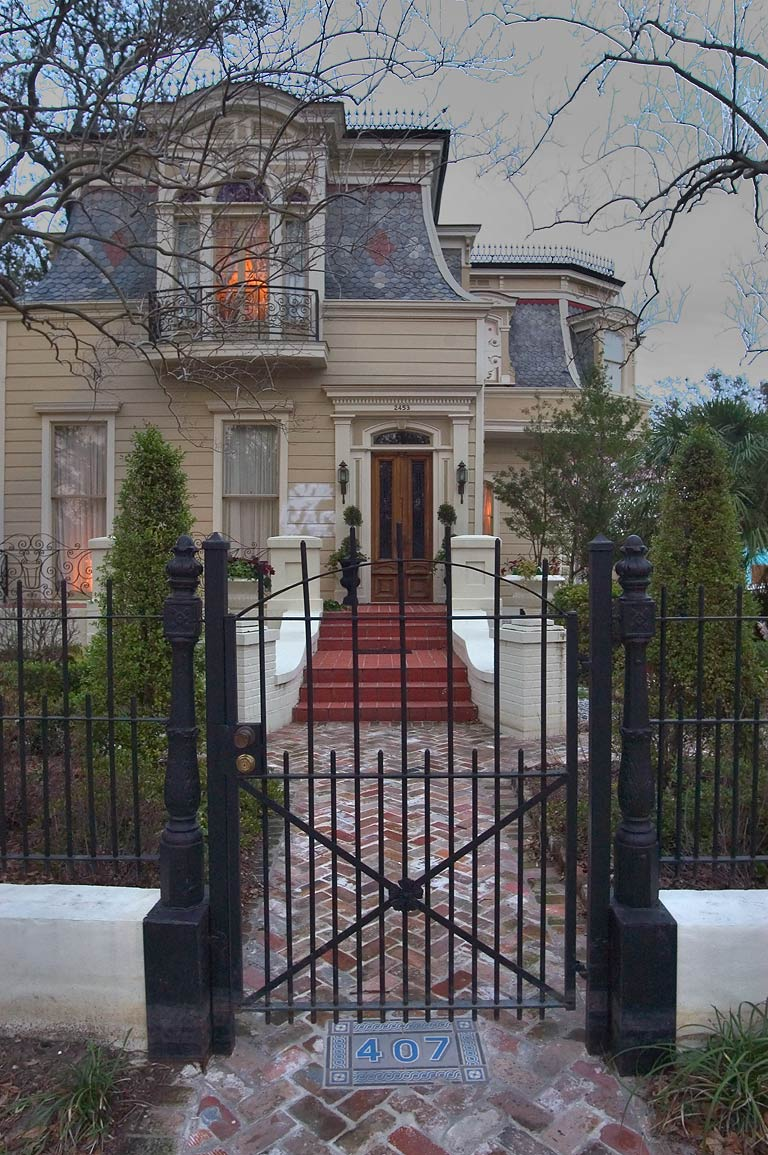 A house at 407 Esplanade Ave. at evening. New Orleans, Louisiana