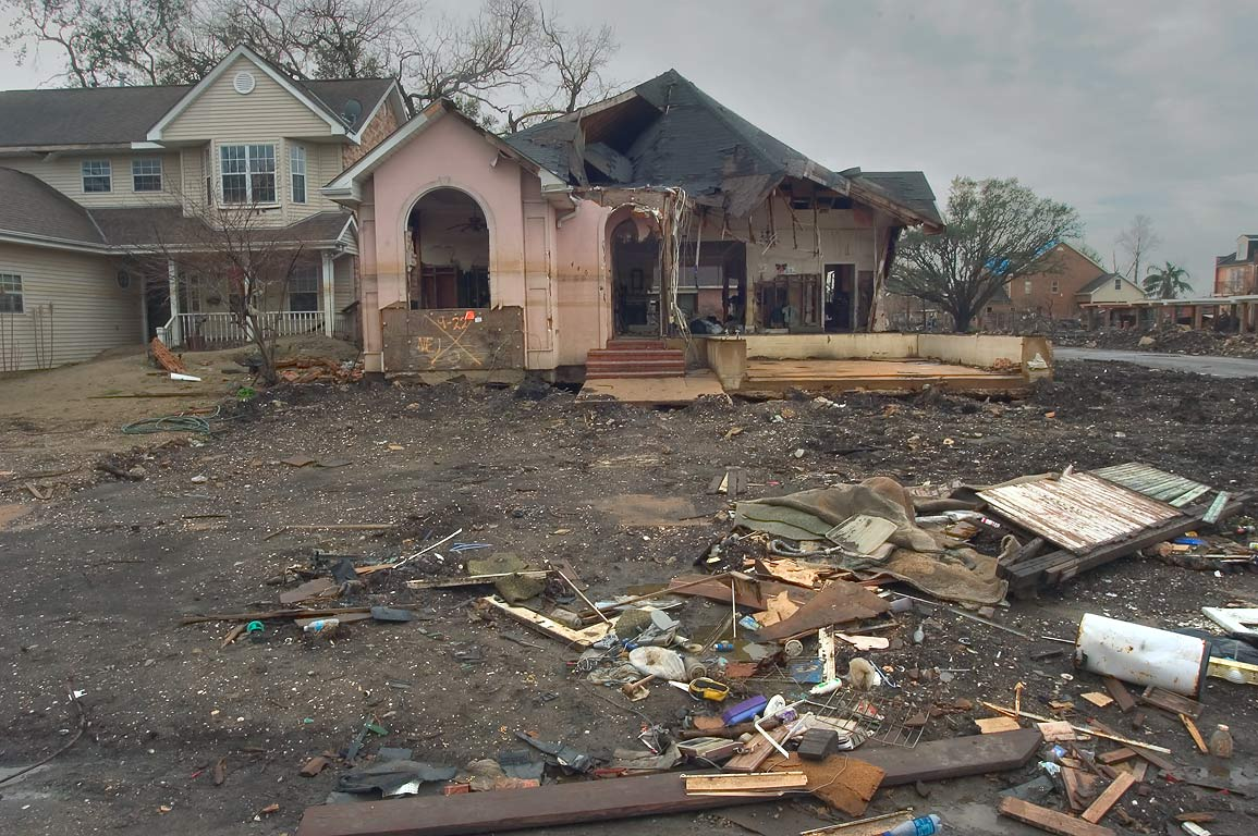 A broken house near Tacoma Street in Lakeview. New Orleans, Louisiana