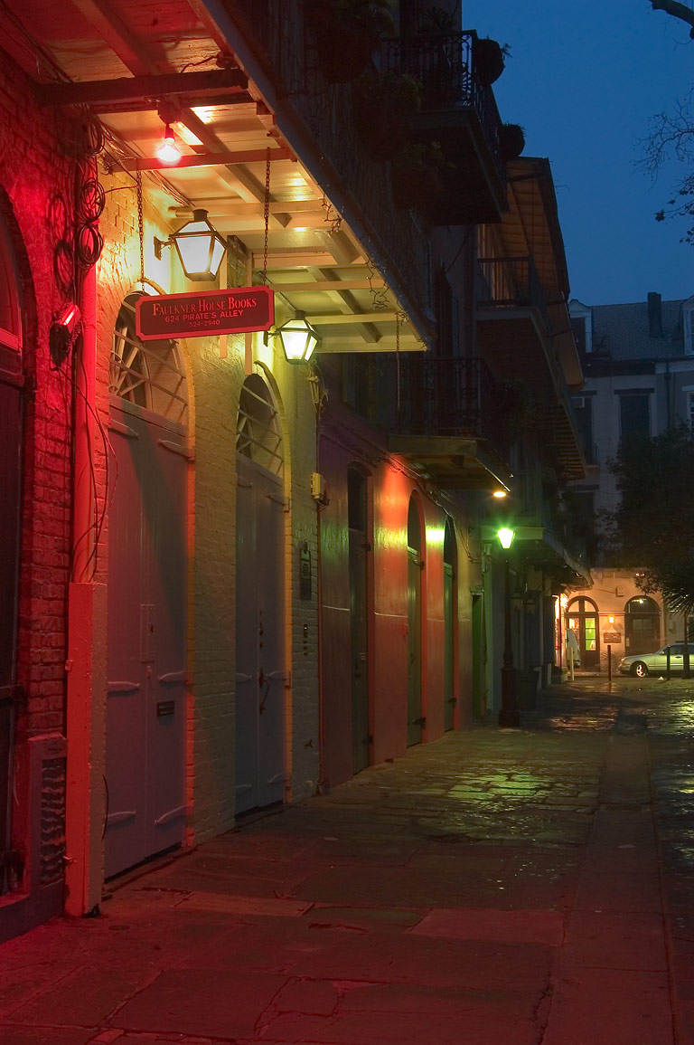 Pirate's Alley toward Royal St. in French Quarter...at morning. New Orleans, Louisiana