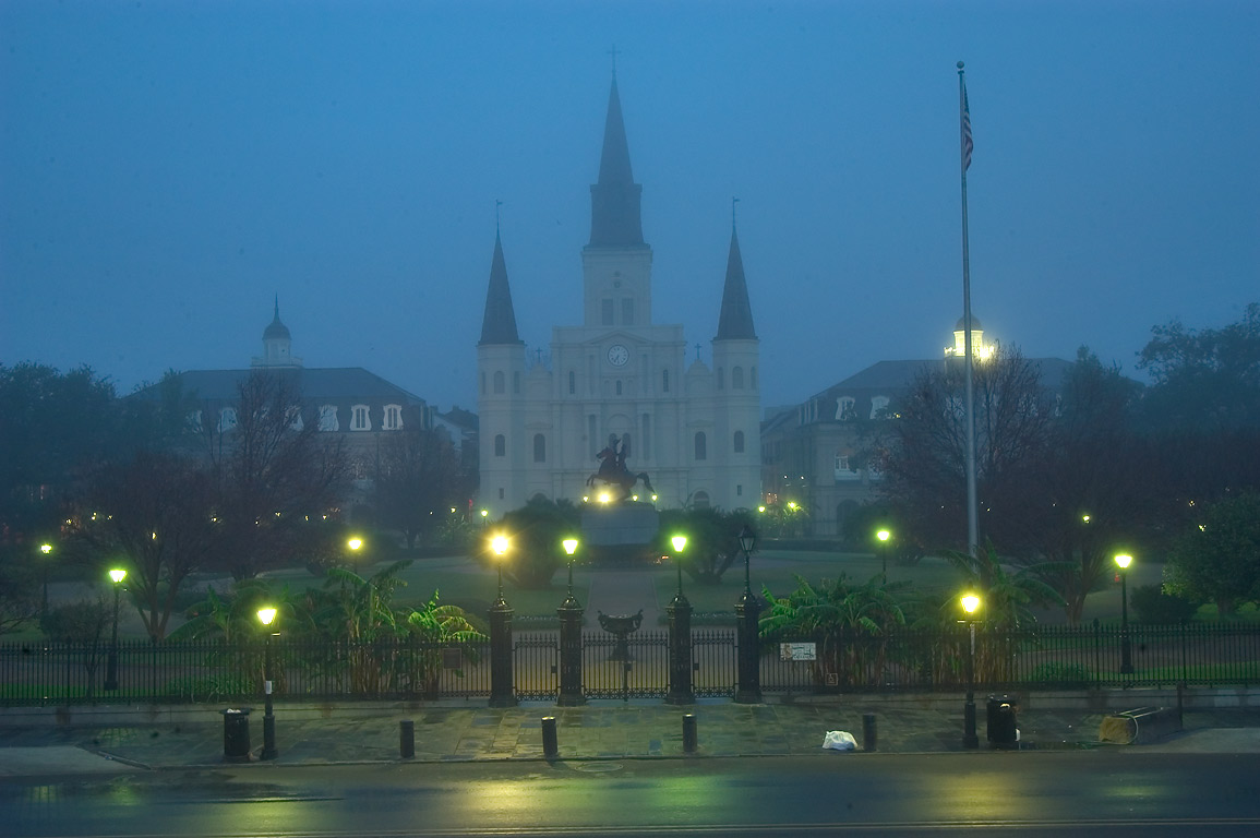 Jackson Square and St.Louis Cathedral in French...Artillery Park. New Orleans, Louisiana