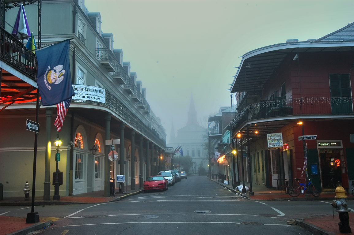 Orleans St. in mist at morning. New Orleans, Louisiana