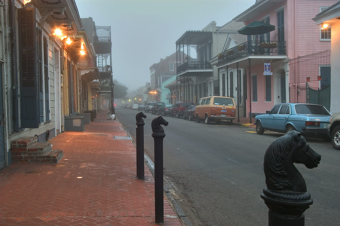 Horse hitches on Orleans St. in French Quarter in mist at morning. New Orleans, Louisiana