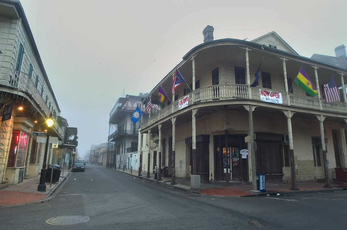 Corner of Dauphine and St.Peter St. in French...at morning. New Orleans, Louisiana