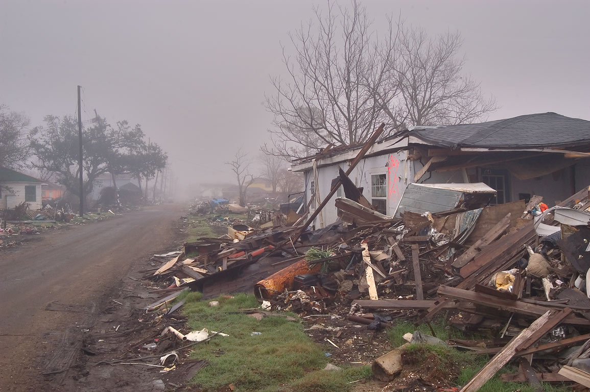 Ruins of Deslonde Street in Lower Ninth Ward in fog at morning. New Orleans, Louisiana