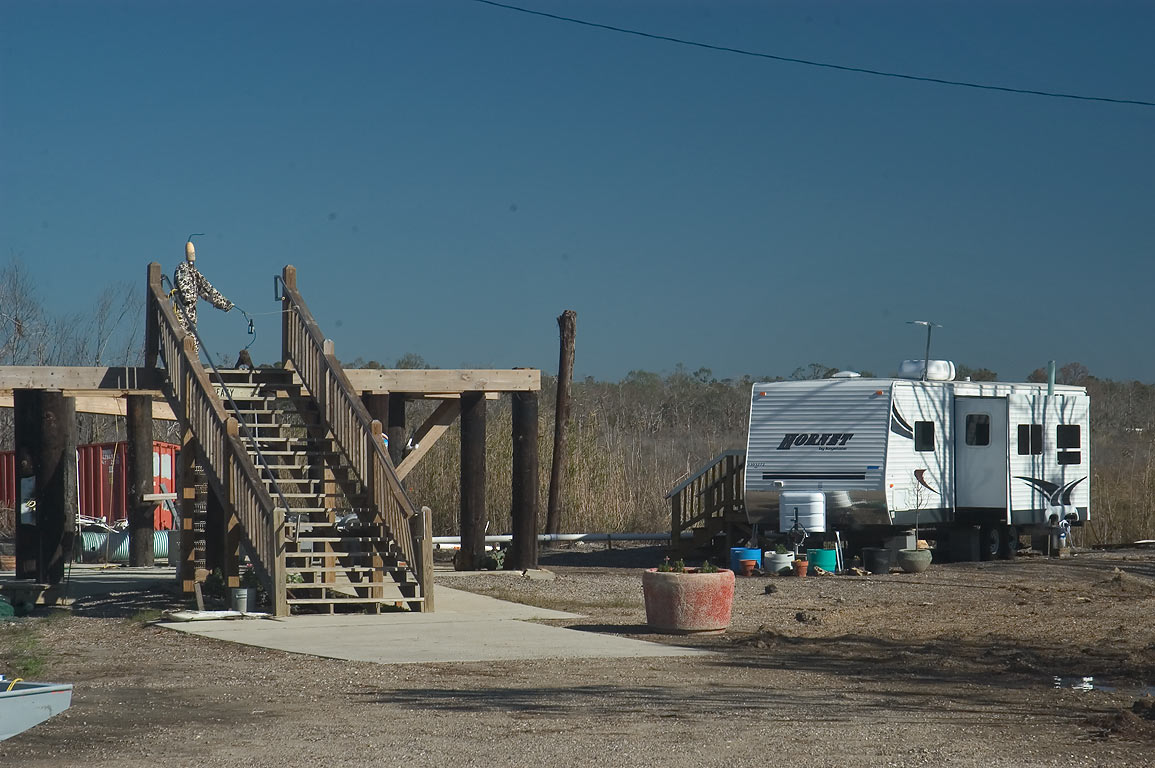 FEMA trailer at remains of a house at Rd. 90 in...Swamp east of Slidell. Louisiana