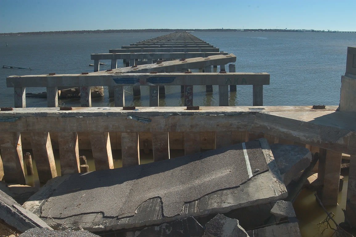 A damaged I-90 bridge to Pass Christian across St.Louis Bay. Bay St.Louis, Mississippi