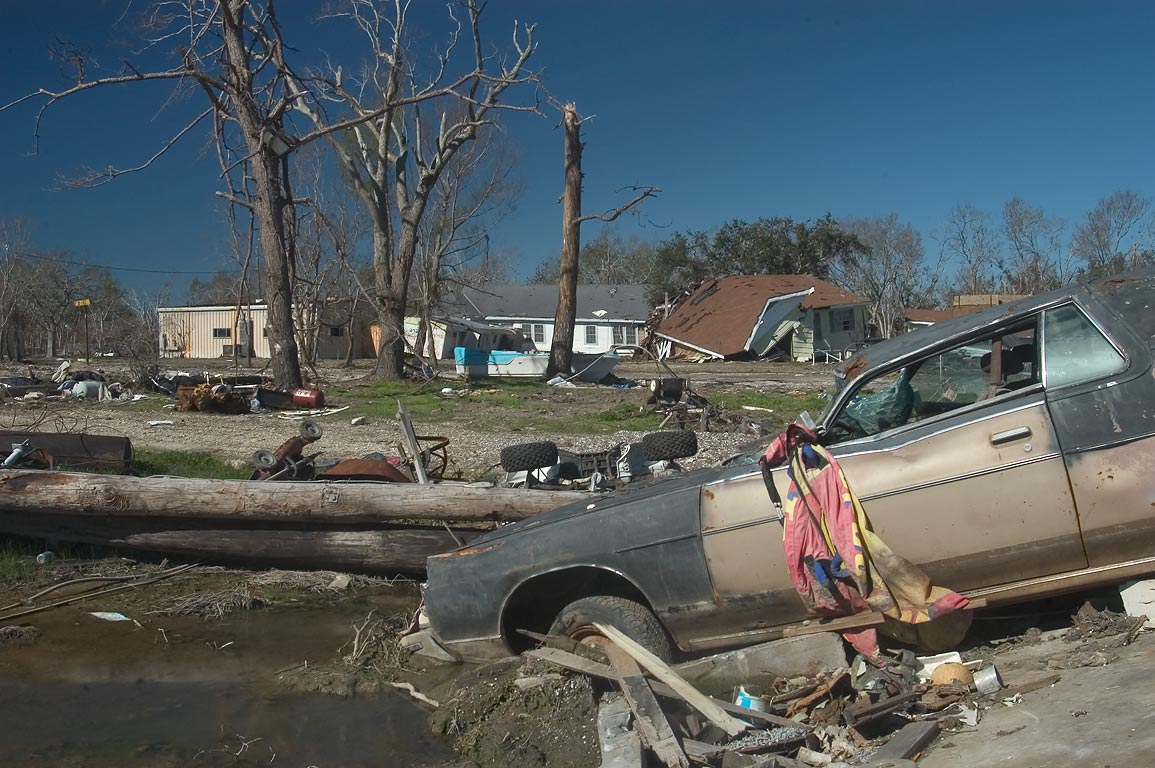 East Bellevue Dr. in Port Sulphur, view from Rd. 23, Plaquemines Parish. Louisiana