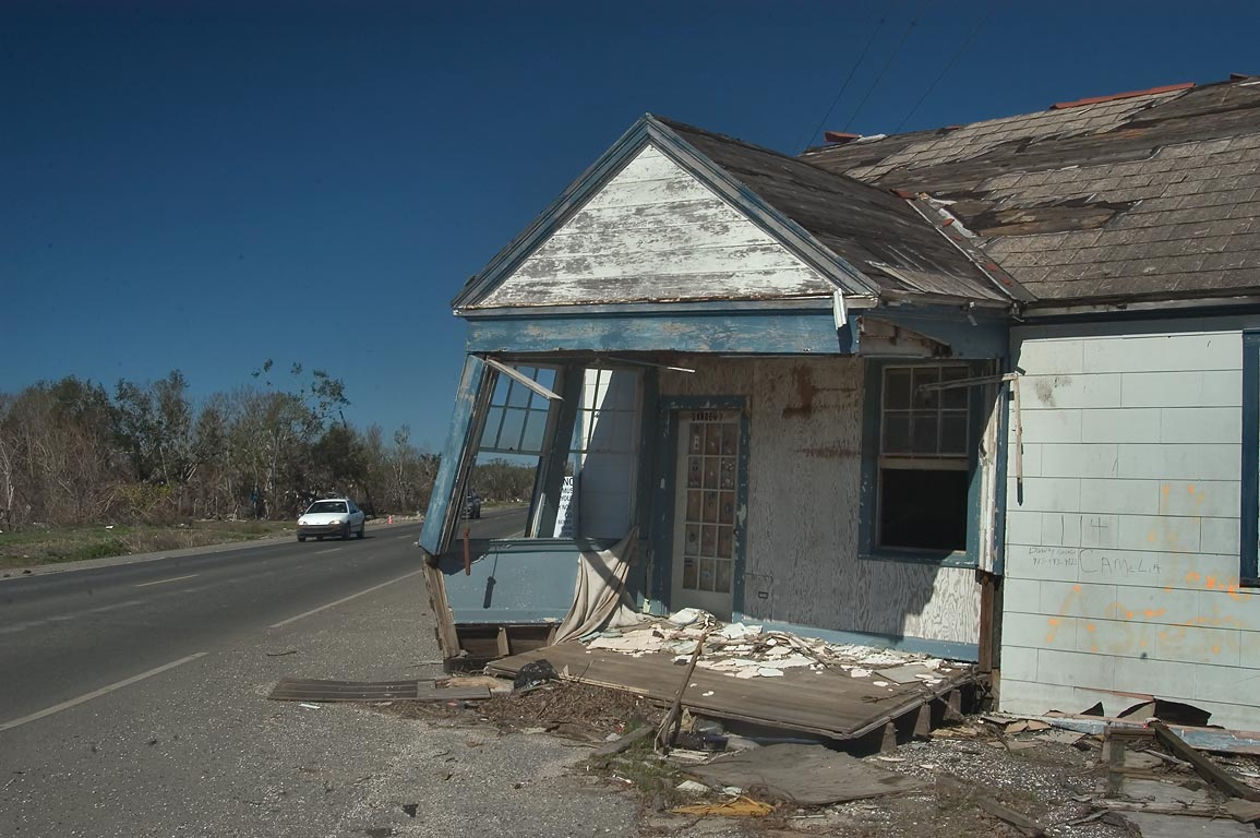 A house at 114 Camelia (Camilla) Ln., floated to...Sulphur, Plaquemines Parish. Louisiana