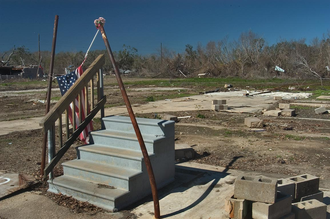 A foundation of a house with a small memorial in...Sulphur, Plaquemines Parish. Louisiana
