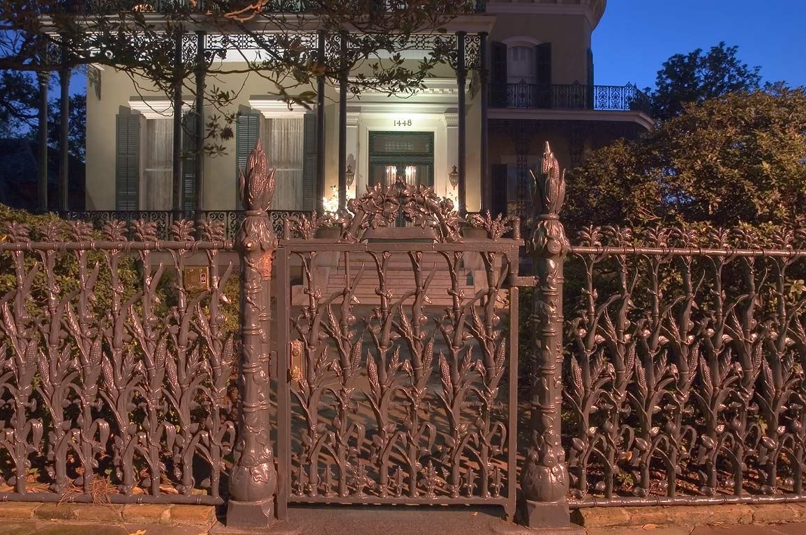 Cornstalk fence of Colonel Short's Villa, at 1448...at evening. New Orleans, Louisiana