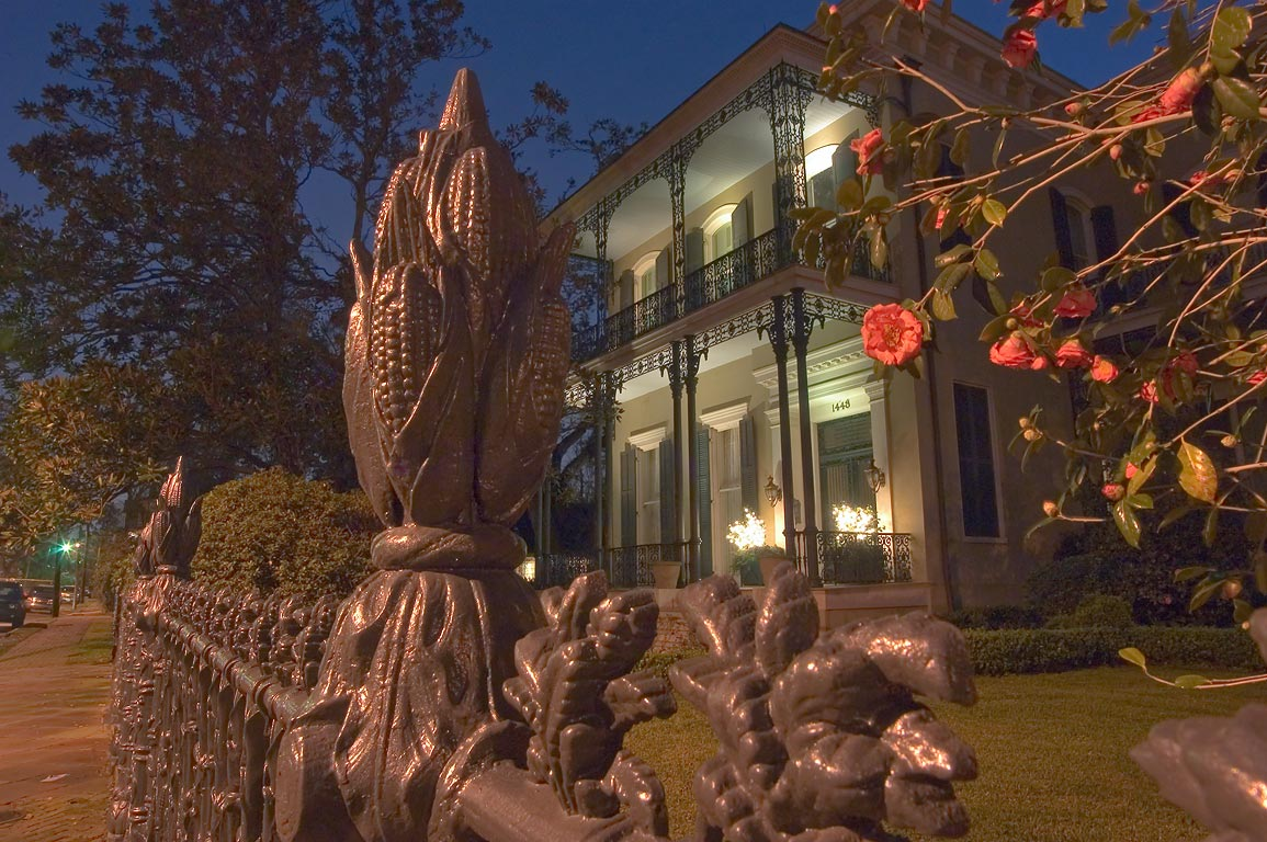 Cornstalk fence and flowers of Colonel Short's...at evening. New Orleans, Louisiana