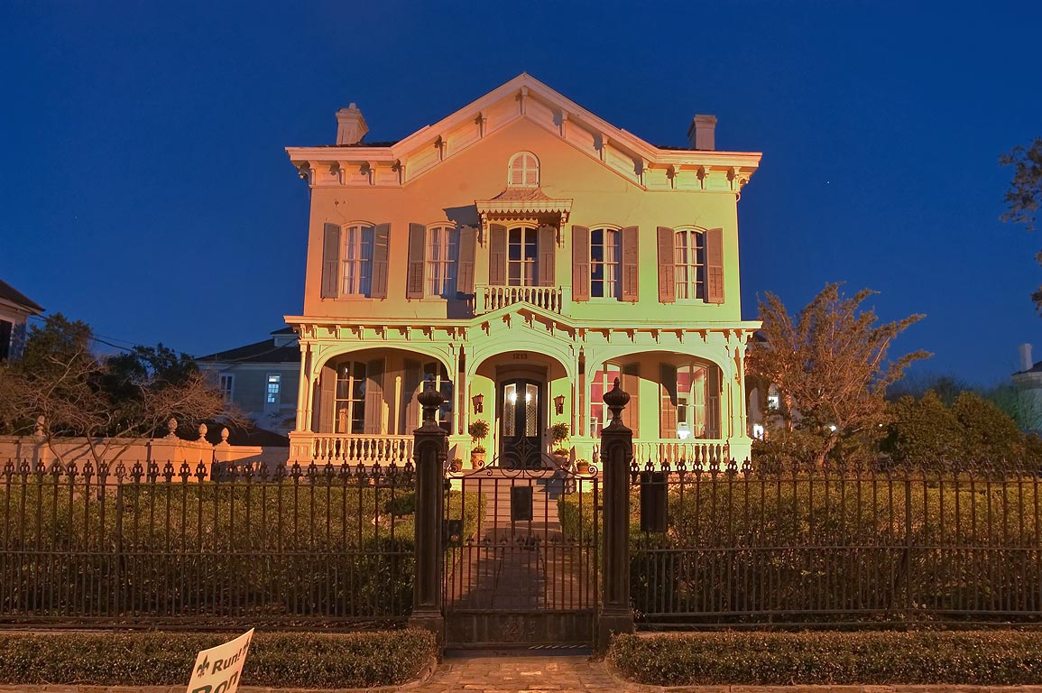 Montgomery-Hero House (1868) at 1213 Third St. in...at evening. New Orleans, Louisiana
