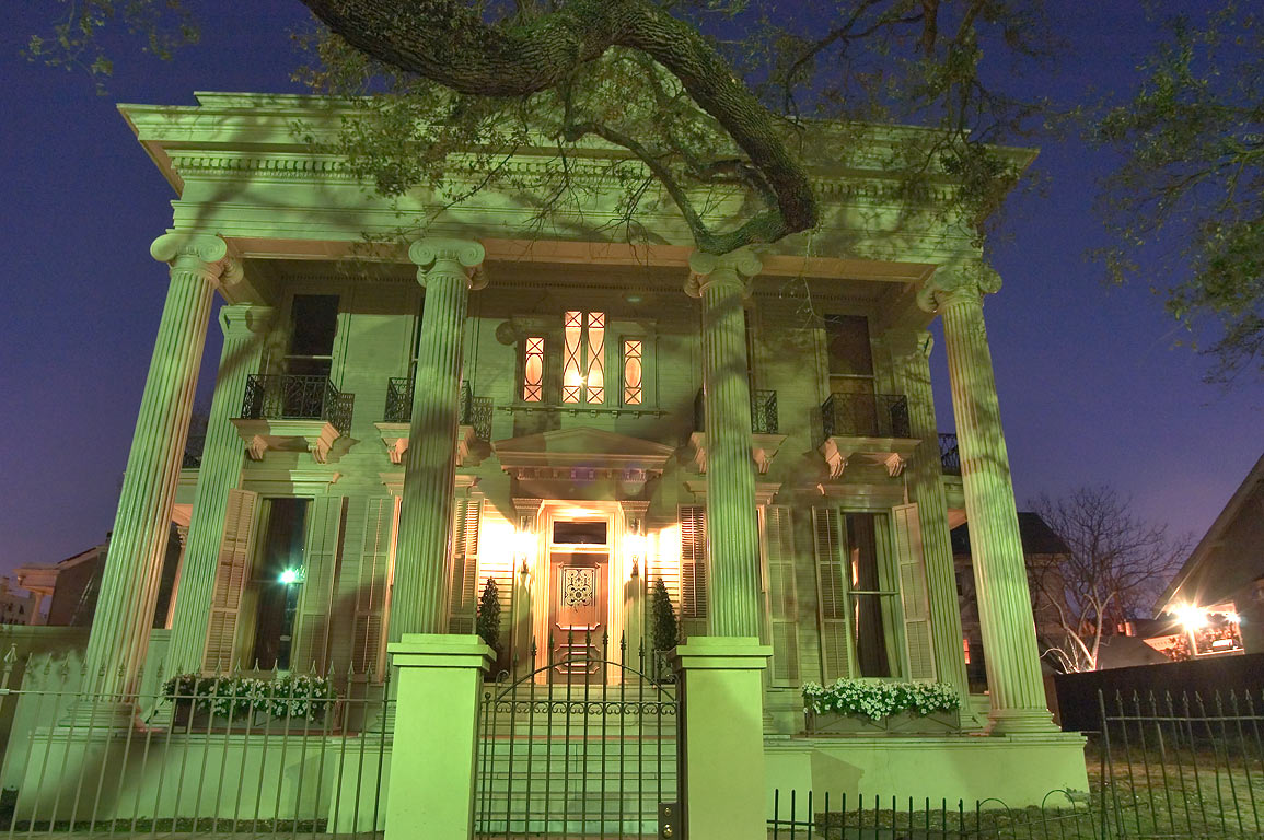 A house on St.Charles Ave. west from Third St. in...at evening. New Orleans, Louisiana