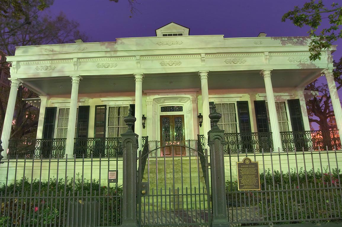 Claiborne Cottage (Dameron House) at 2524 St...at evening. New Orleans, Louisiana