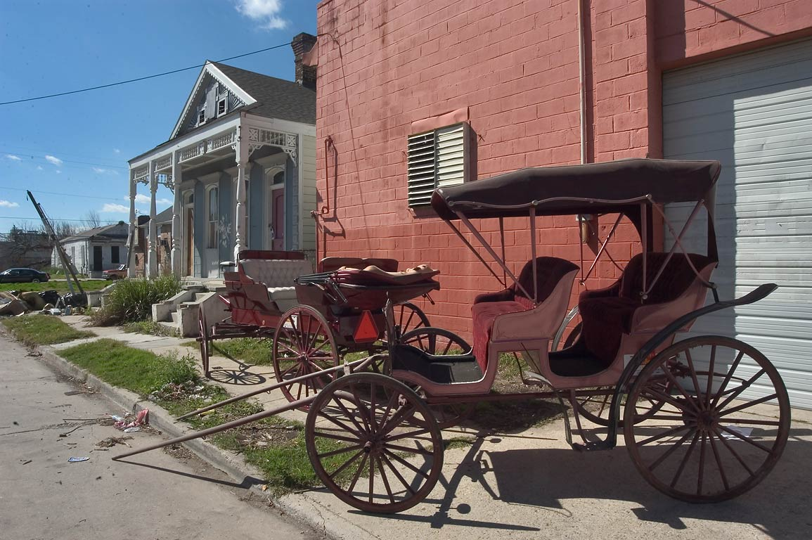 Carriages and a carriage house on North Robertson...St. in Treme. New Orleans, Louisiana