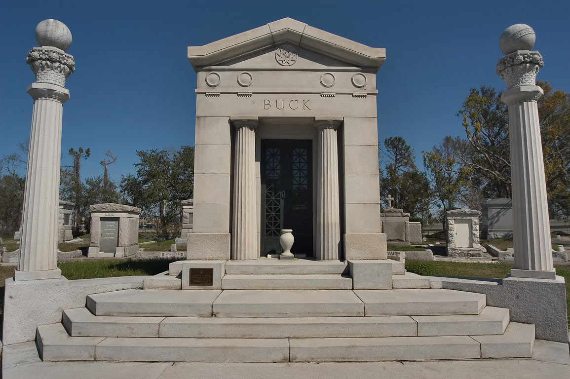 A tomb of Charles Francis Buck (1841-1918) in Metairie Cemetery. New Orleans, Louisiana