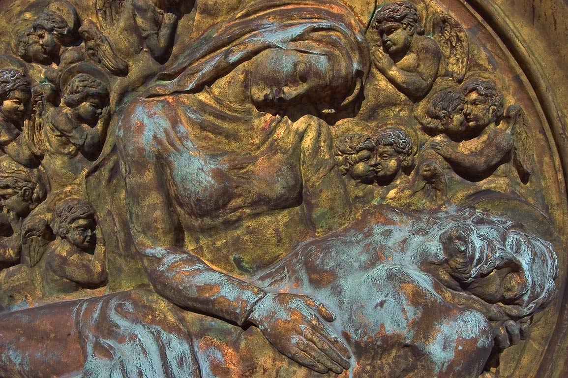 Bronze relief on a tomb in Metairie Cemetery. New Orleans, Louisiana