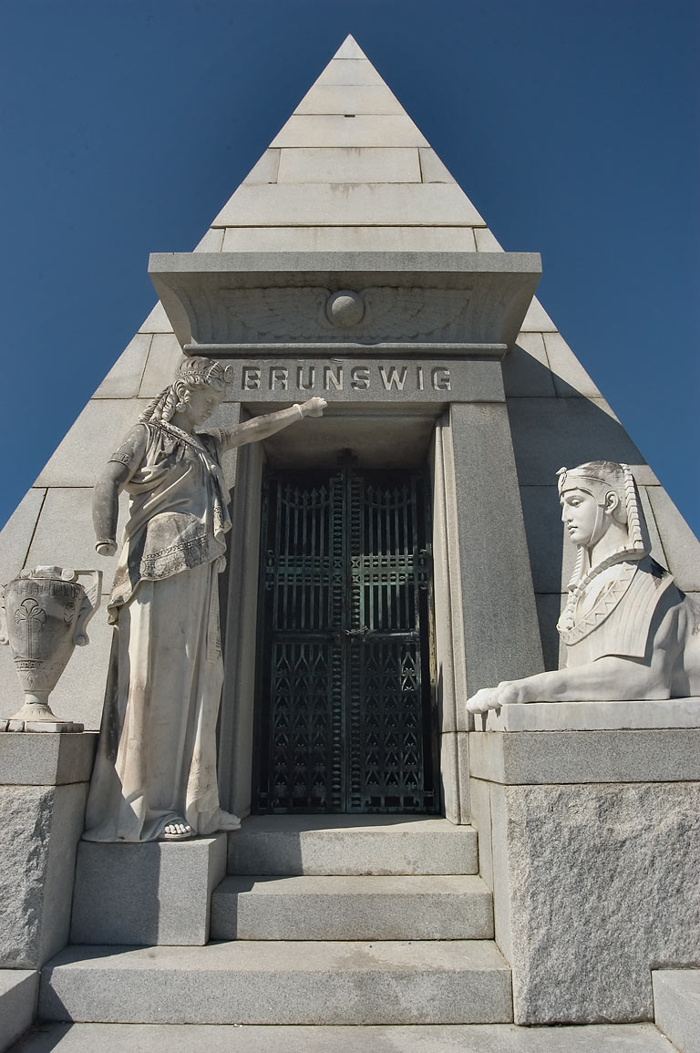Egyptian styled marble mausoleum of Lucien...Cemetery. New Orleans, Louisiana