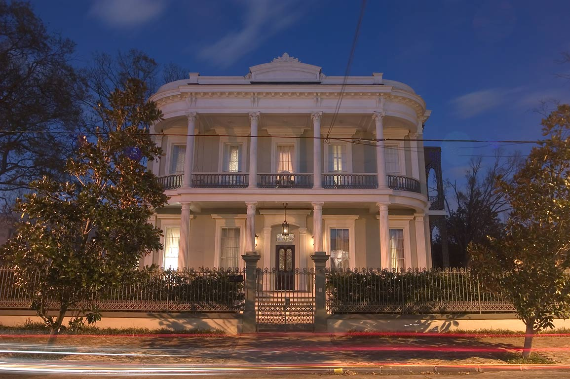 Robinson House (1862-66) at 1415 3rd St. in...after sunset. New Orleans, Louisiana