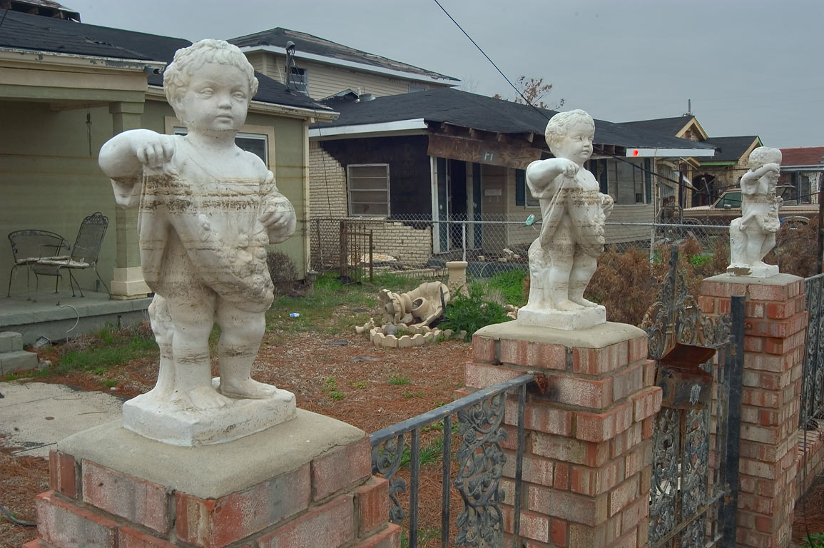 Waterline on sculptures at St.Maurice Ave. in Lower Ninth Ward. New Orleans, Louisiana