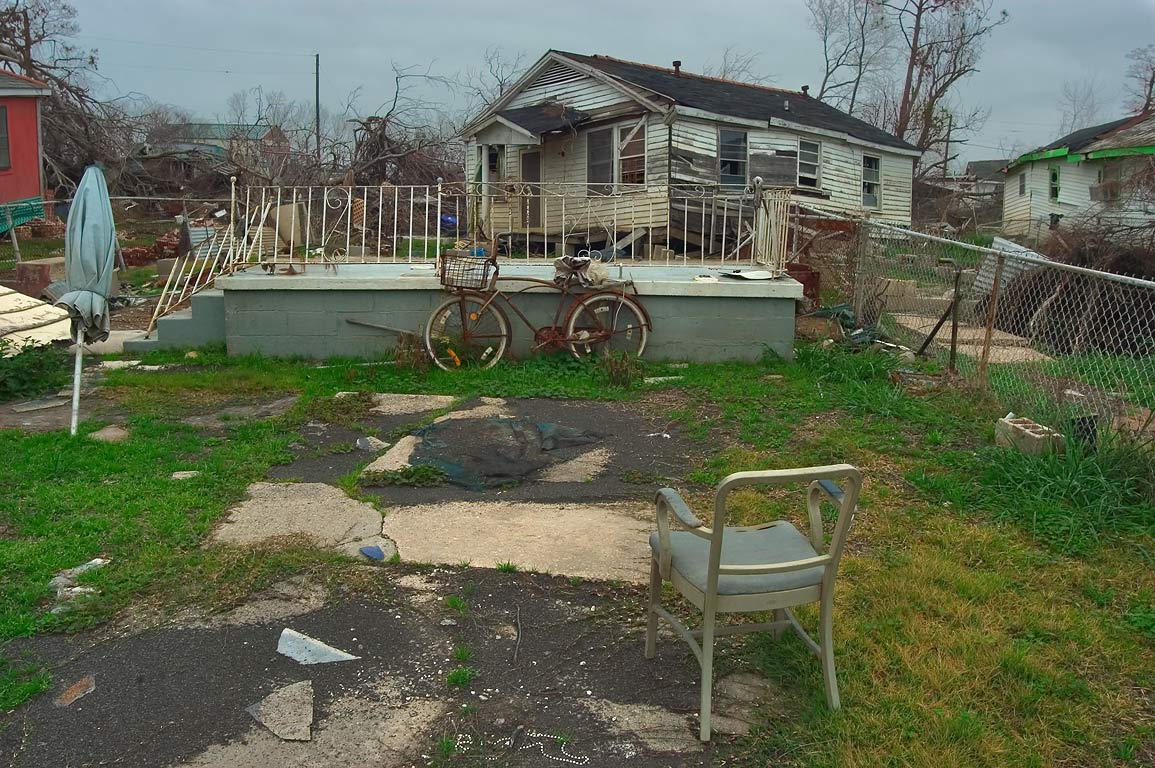 A house floated from its foundation on Law St. in Lower Ninth Ward. New Orleans, Louisiana