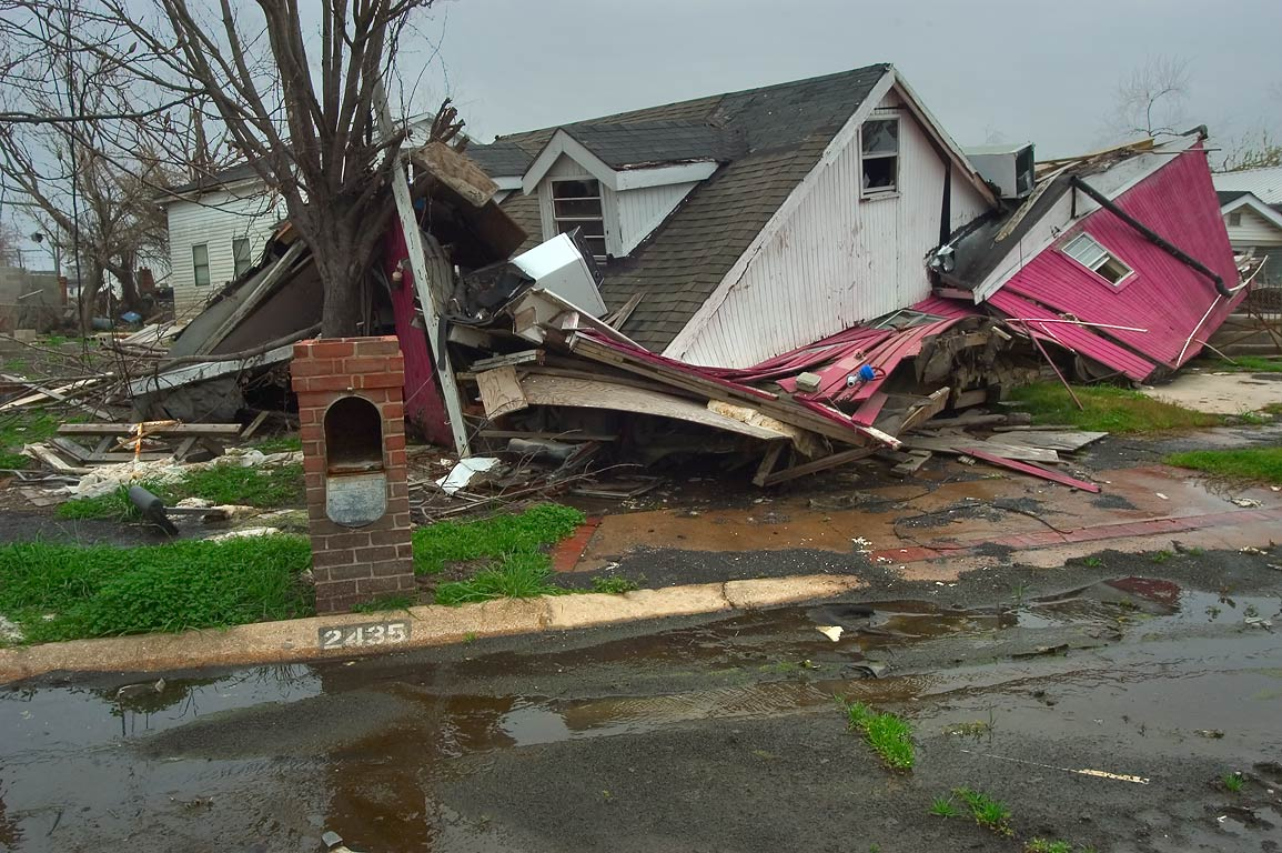 Remains of a house at 2435 Tupelo St. in Lower Ninth Ward. New Orleans, Louisiana