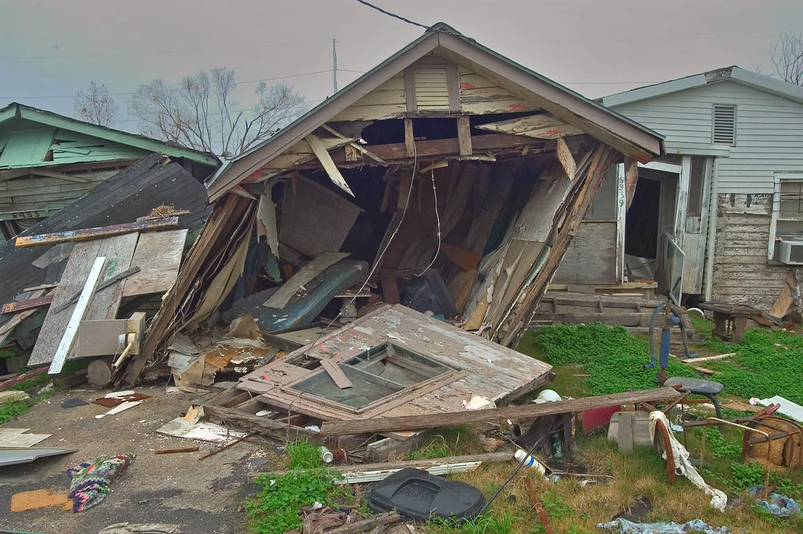 A skewed house at North Dorgenois Street in Lower Ninth Ward. New Orleans, Louisiana