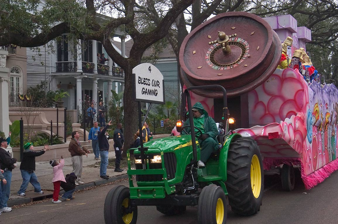 "Mardi Gras float No. 4 ""Bless our gaming"" of...District. New Orleans, Louisiana"