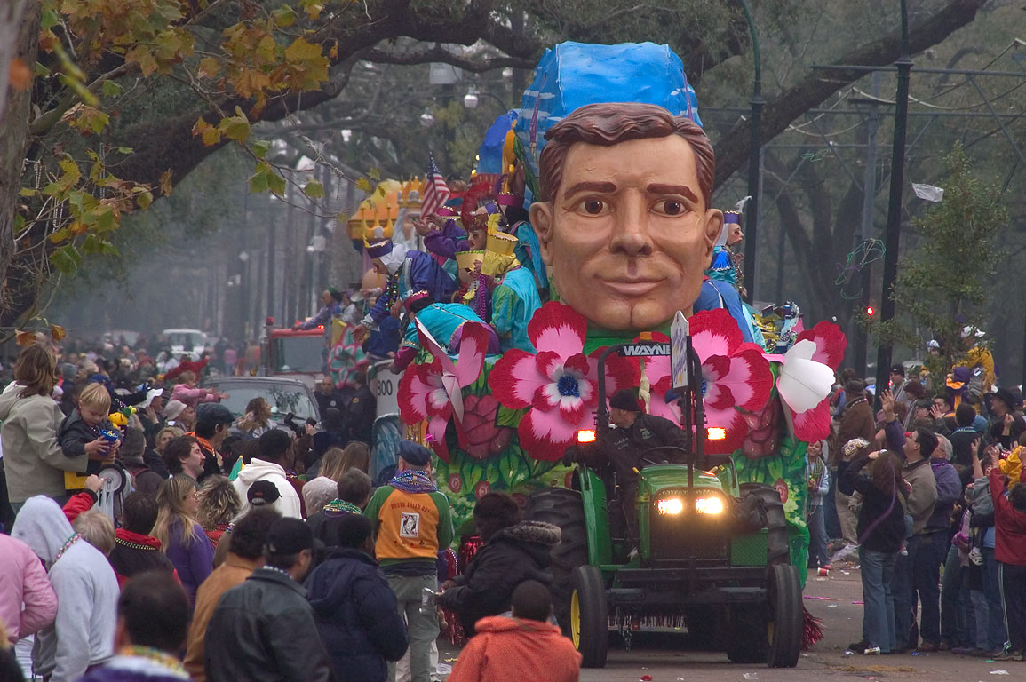 Mardi Gras float No. 4 of Sparta parade on St...District. New Orleans, Louisiana