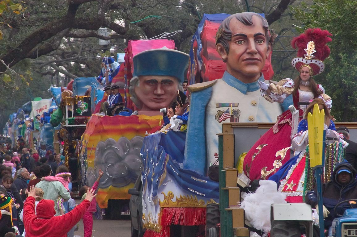 Procession of floats on St.Charles Ave. during...of King Arthur. New Orleans, Louisiana