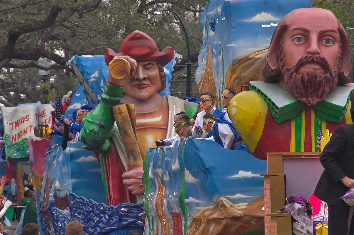 Mardi Gras parade floats of krewe of King Arthur...Charles Ave.. New Orleans, Louisiana