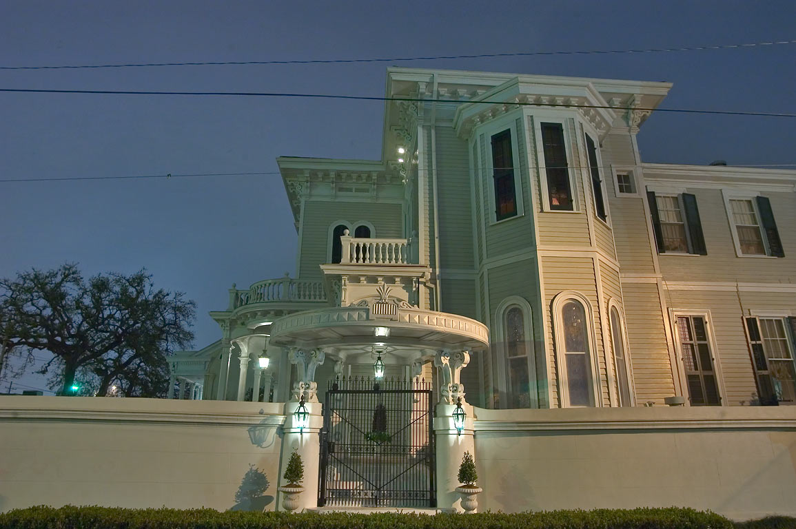 A house at a corner of Jackson Ave. and Chestnut St. at evening. New Orleans, Louisiana
