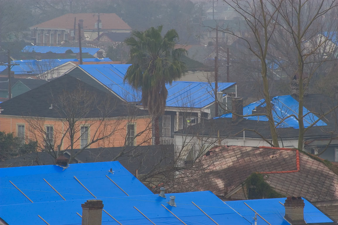 Blue tarp protecting roofs, view in direction of...Charles Ave.. New Orleans, Louisiana