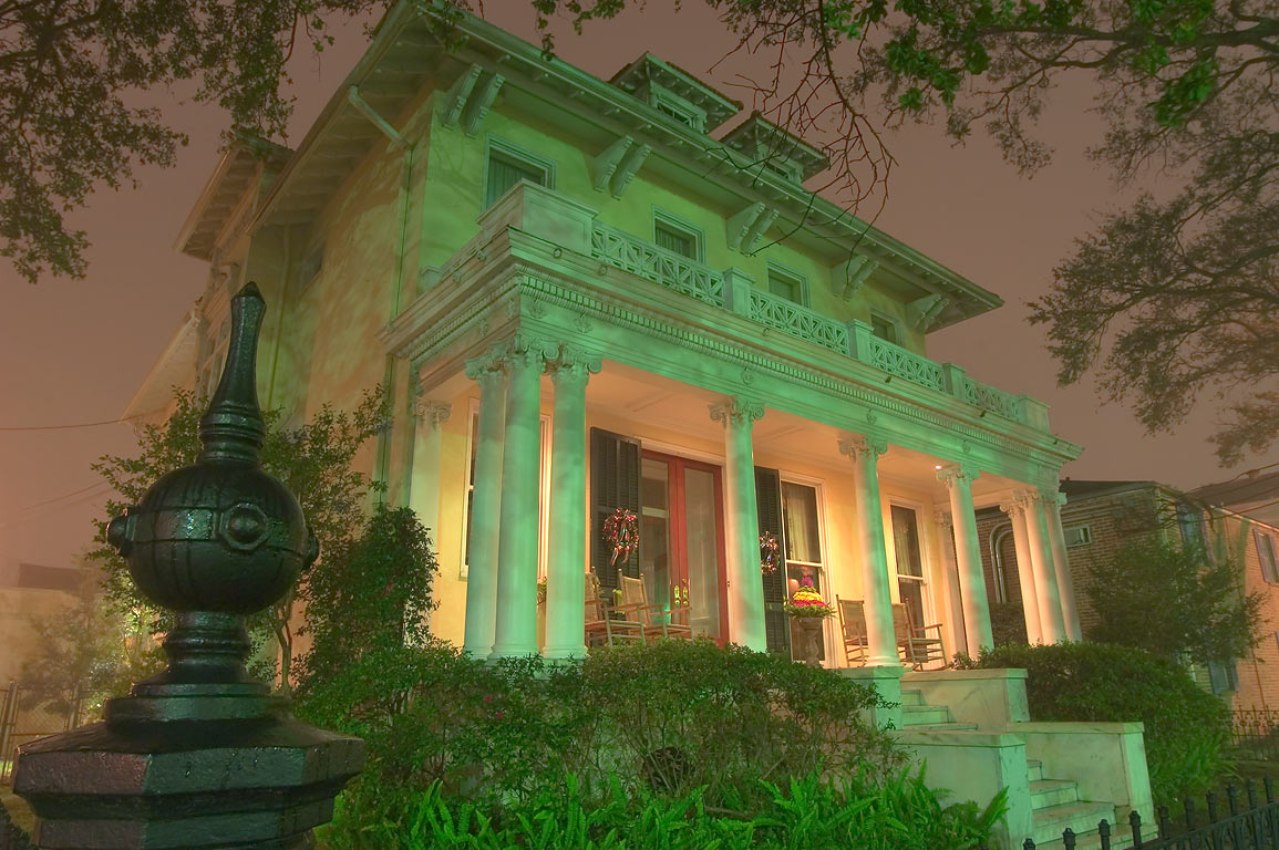 Hassinger, Blaffer Woods house at 2834 St.Charles...at night. New Orleans, Louisiana
