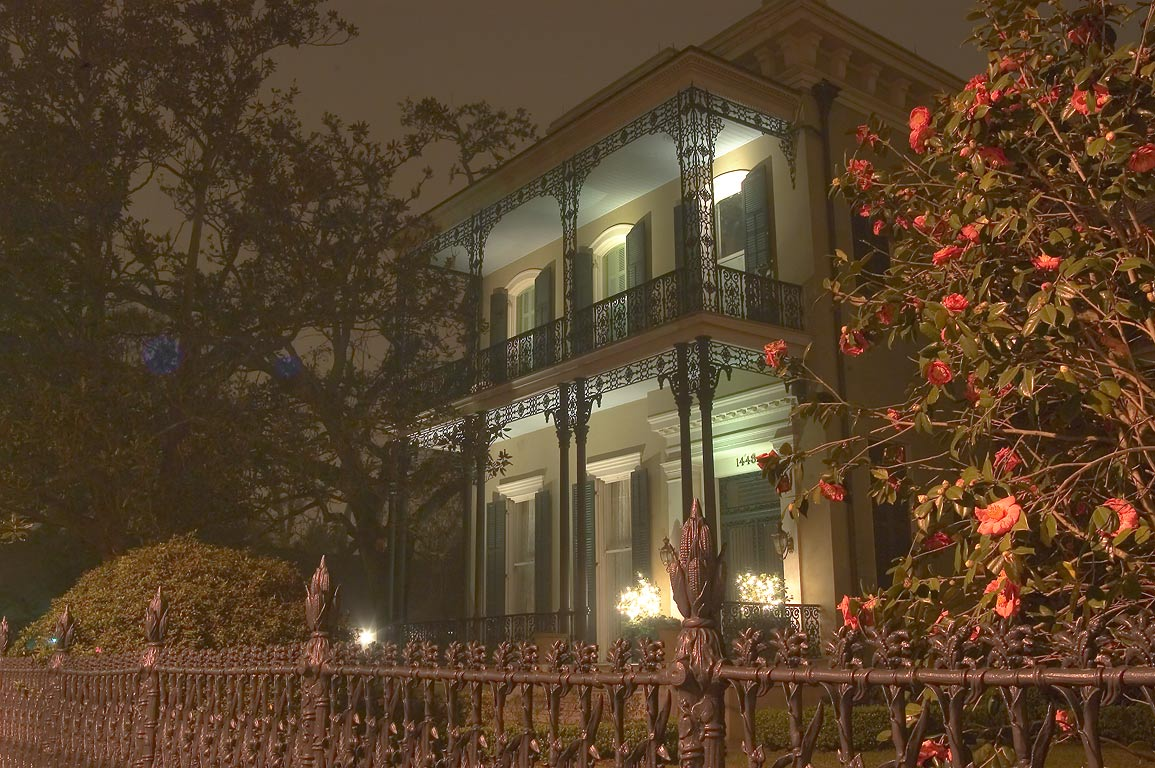 Cornstalk fence of Colonel Short's Villa at 1448...at night. New Orleans, Louisiana