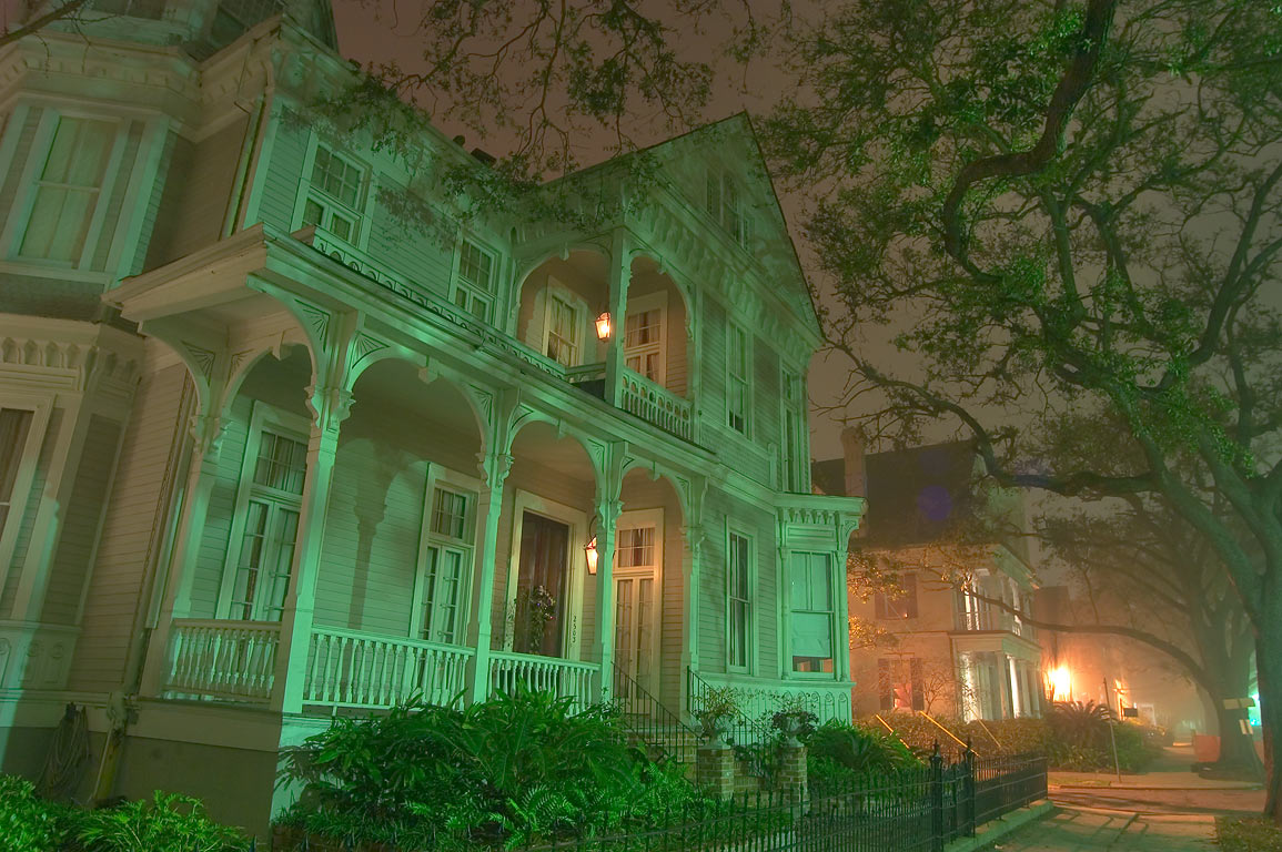 St.Charles Ave. near First St. in Garden District at night. New Orleans, Louisiana