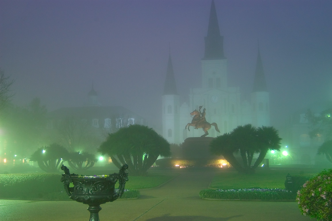 Jackson Square and St.Louis Cathedral in French...at Decatur St.. New Orleans, Louisiana