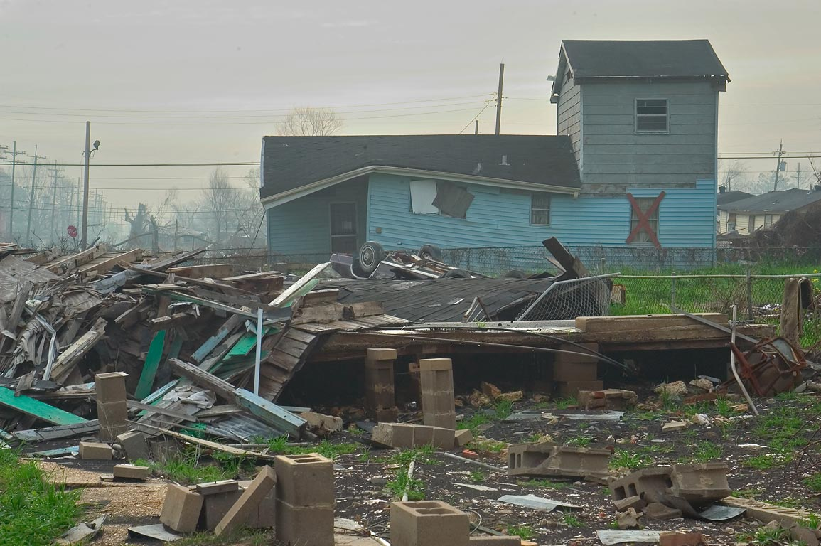Camelback house on North Dorgenois St. in Lower Ninth Ward in mist. New Orleans, Louisiana