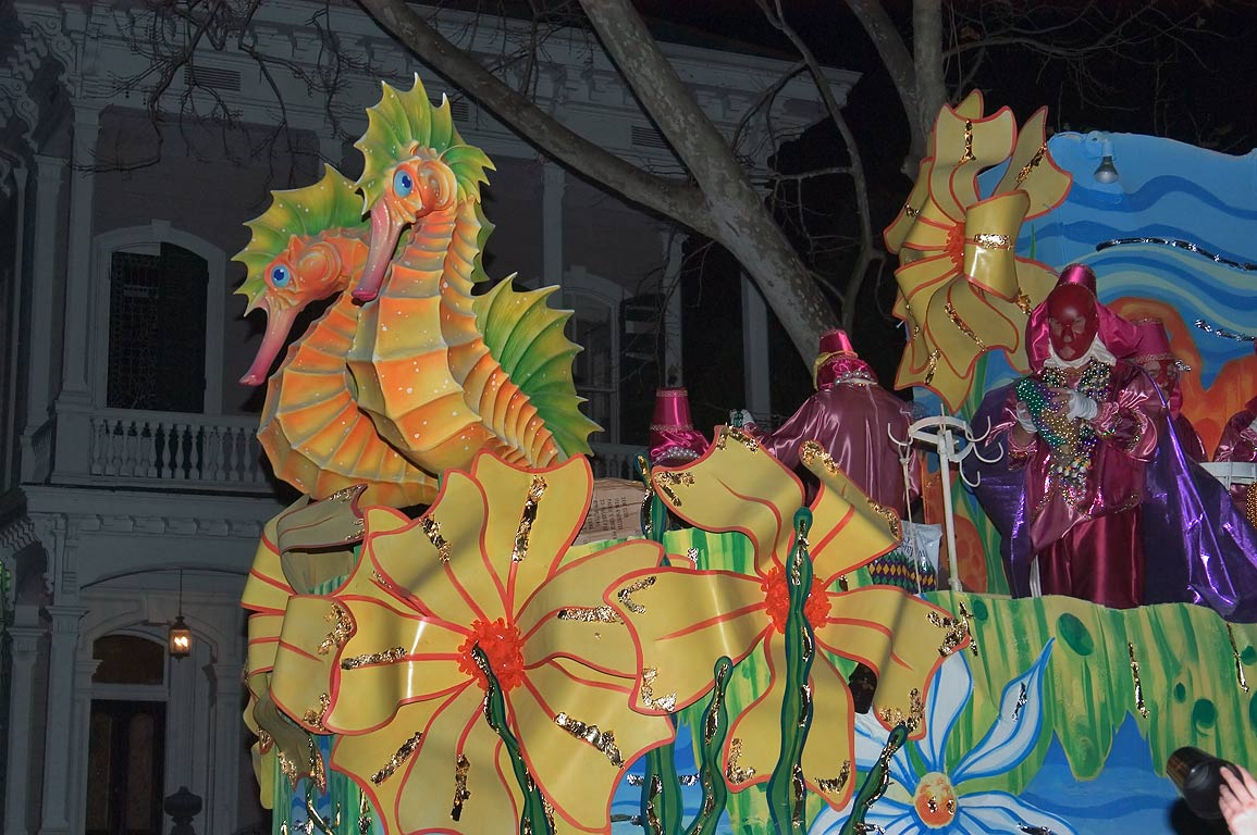 Sea horses Mardi Gras float of krewe of Chaos at...Charles Ave.. New Orleans, Louisiana