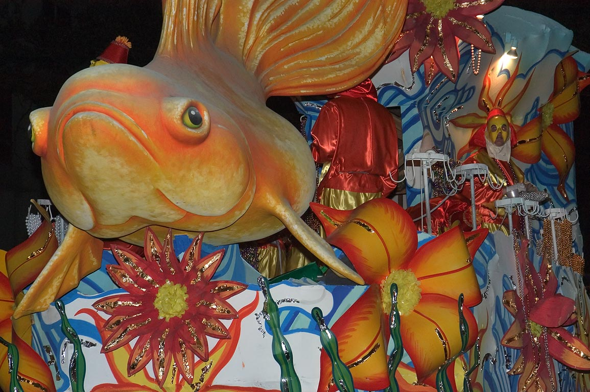 Goldfish float of krewe of Chaos at Mardi Gras...Charles Ave.. New Orleans, Louisiana