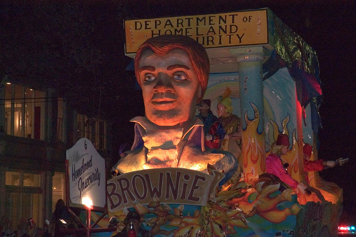 "The float No. 6 ""Homeland Insecurity-BrowniE"" of...Charles Ave.. New Orleans, Louisiana"