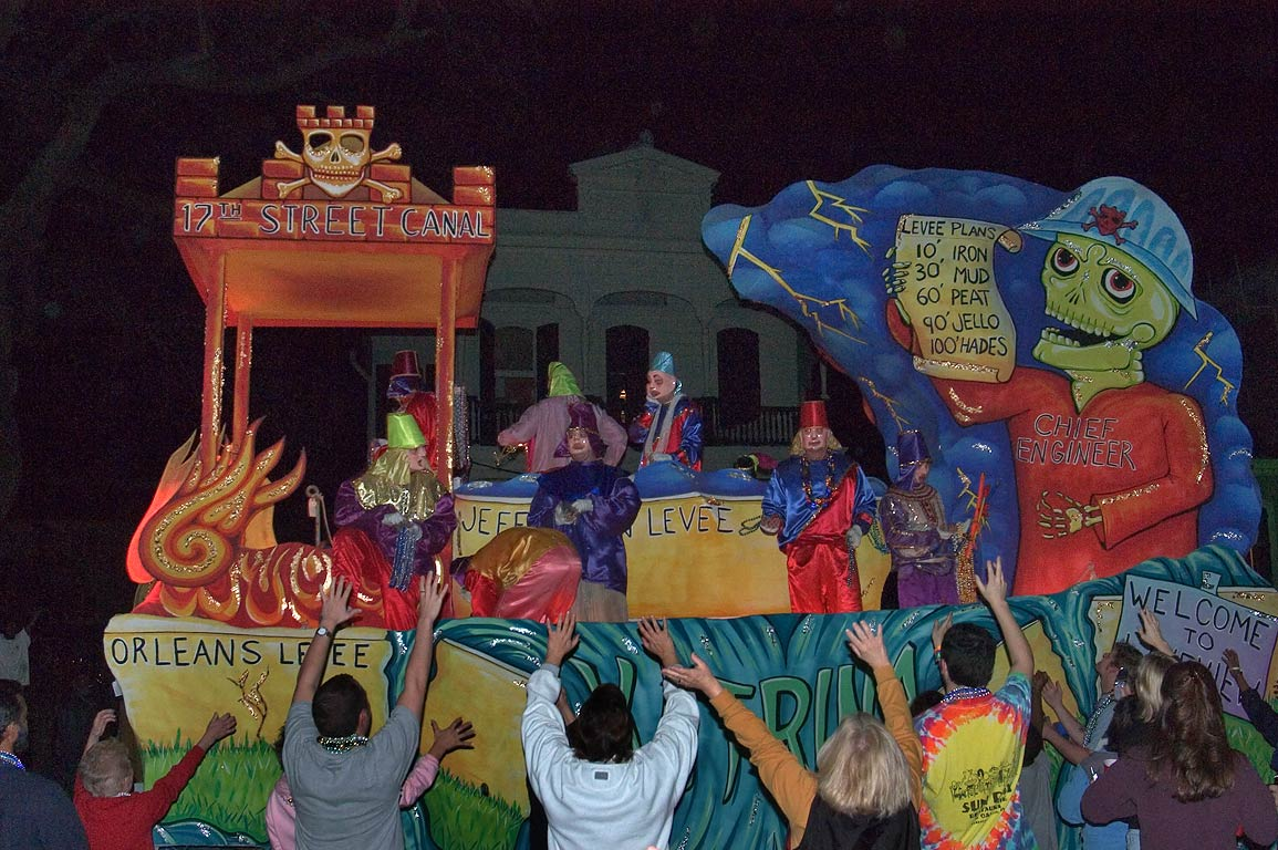 "A float ""17th St. Canal Orleans Levee"" of krewe...Charles Ave.. New Orleans, Louisiana"